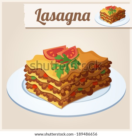 Detailed Icon. Lasagna. - stock vector