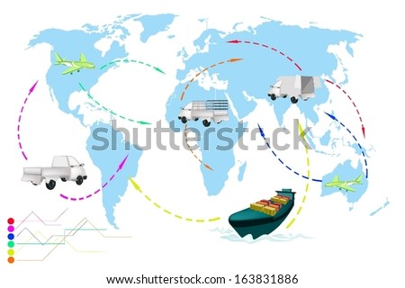 Detailed Illustration Flight Paths of Transportation and Logistics On A Global Scale.  - stock vector
