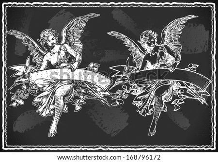 Detailed illustration of a Angel with Holding a Banner on Vintage BlackBoard - stock vector