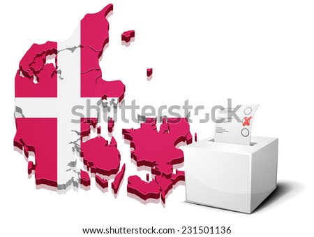 detailed illustration of a ballot box in front of a 3D map of Denmark, eps10 vector - stock vector