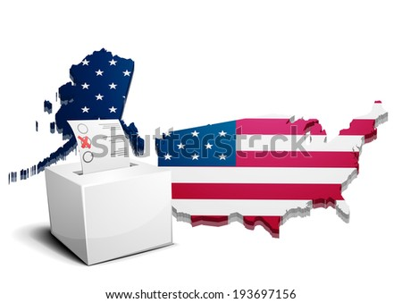 detailed illustration of a ballot box in front of a 3D map of the united states of america, eps10 vector - stock vector