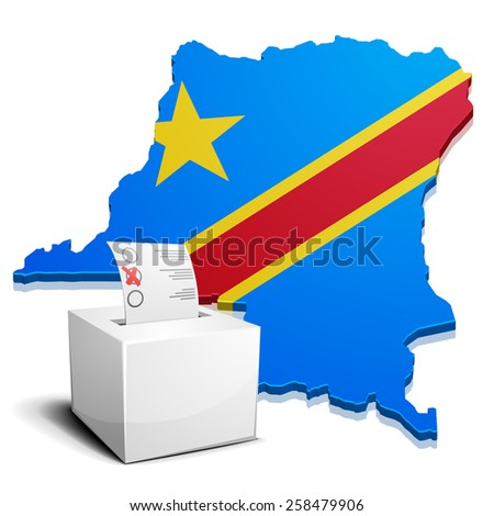 detailed illustration of a ballot box in front of a map of the democratic republic of the Congo, eps10 vector - stock vector