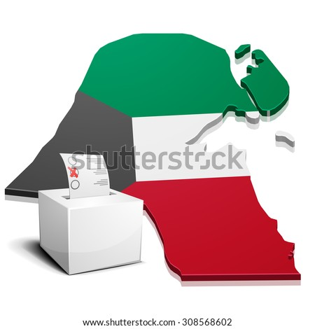 detailed illustration of a ballotbox in front of a map of Kuwait, eps10 vector - stock vector