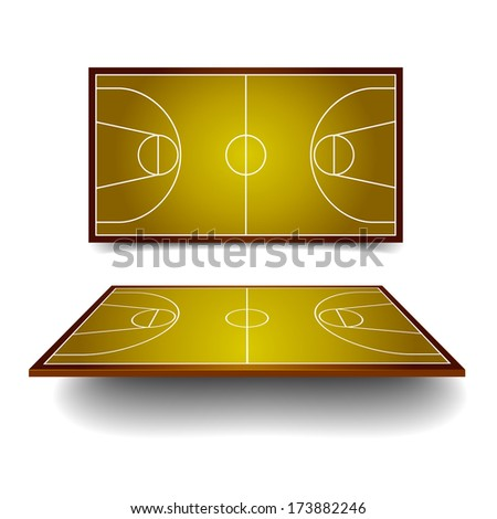 detailed illustration of a basketball courts with perspective, eps10 vector