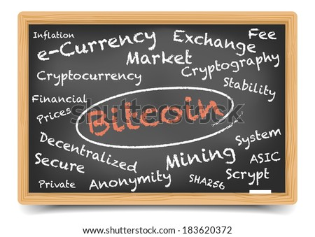 "detailed illustration of a ""bitcoin"" wordcloud on a blackboard, eps10 vector, gradient mesh included - stock vector"
