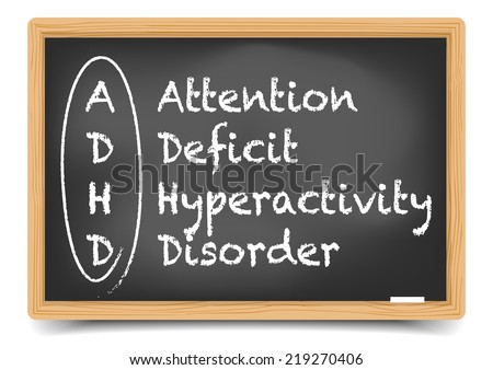 "detailed illustration of a ""blackboard with ADHD term definition, eps10 vector, gradient mesh included - stock vector"