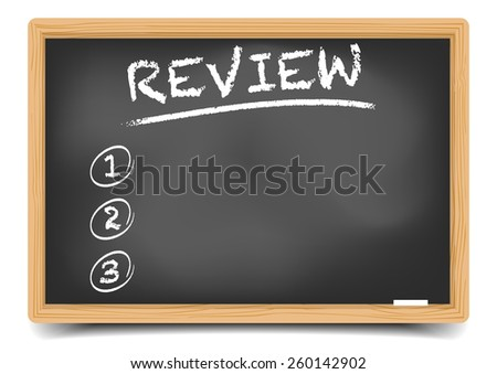 detailed illustration of a blackboard with an empty Review List, eps10 vector, gradient mesh included - stock vector