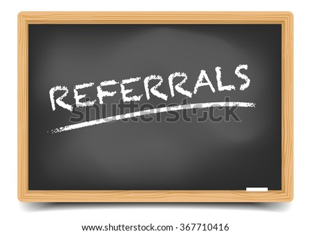 detailed illustration of a blackboard with Referrals text, eps10 vector, gradient mesh included - stock vector