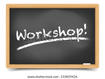 detailed illustration of a blackboard with Workshop text, eps10 vector, gradient mesh included - stock vector