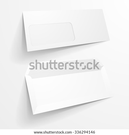 detailed illustration of a blank envelope mockup templates, eps10 vector - stock vector