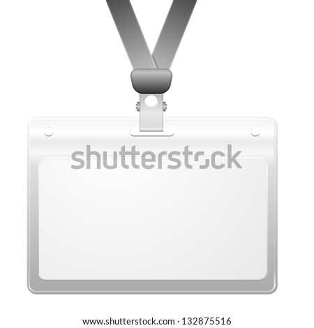 detailed illustration of a blank plastic name tag, eps10 vector - stock vector