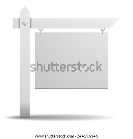 detailed illustration of a blank white real estate sign, eps10 vector - stock vector