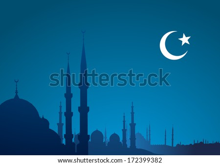 detailed illustration of a blue religious background with mosque and crescent moon, eps10 vector - stock vector