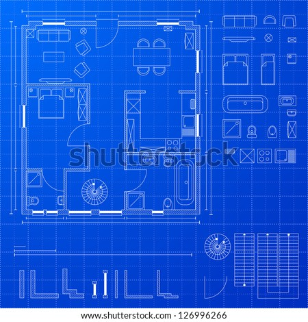 detailed illustration of a blueprint floorplan with various design elements, eps 10 - stock vector