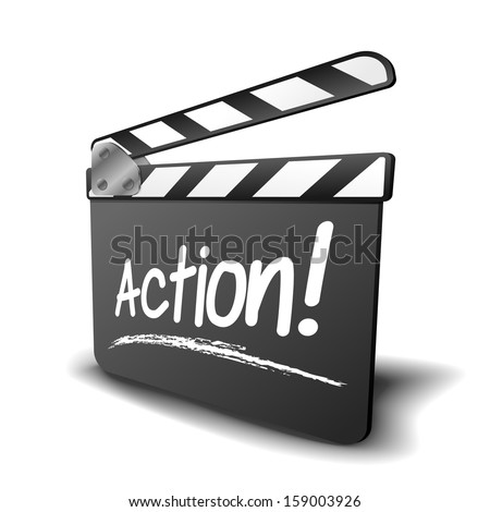 detailed illustration of a clapper board with action term, symbol for film and video - stock vector