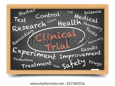 detailed illustration of a Clinical Trial wordcloud on a blackboard, eps10 vector, gradient mesh included