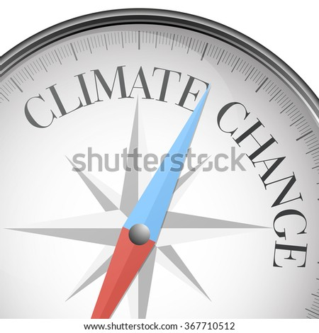 detailed illustration of a compass with Climate Change text, eps10 vector - stock vector
