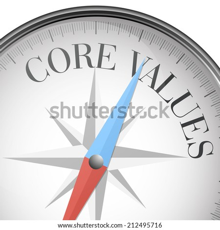 detailed illustration of a compass with core values text, eps10 vector - stock vector