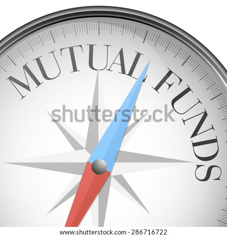 detailed illustration of a compass with mutual funds text, eps10 vector - stock vector