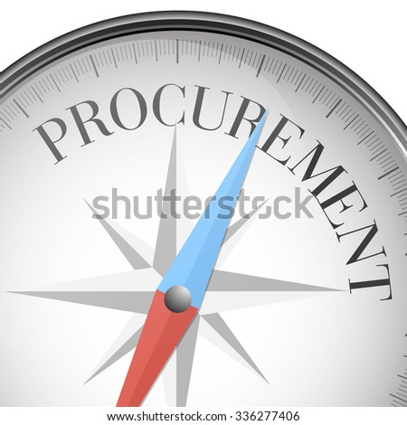 detailed illustration of a compass with procurement text, eps10 vector - stock vector