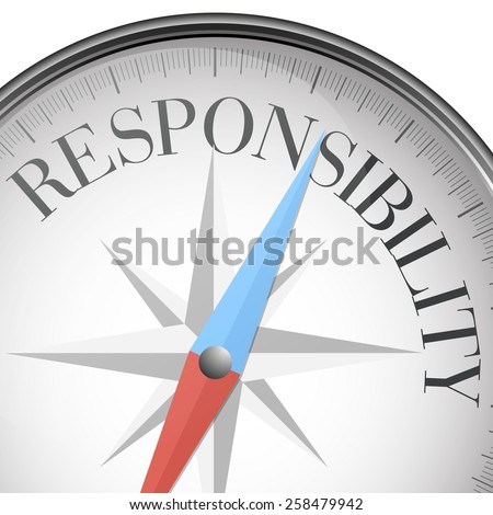 detailed illustration of a compass with responsibility text, eps10 vector - stock vector