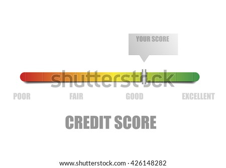 detailed illustration of a credit score meter with pointer, eps10 vector - stock vector
