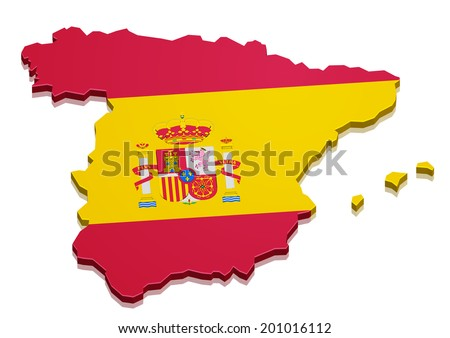 detailed illustration of a 3D map of spain with flag, eps10 vector - stock vector