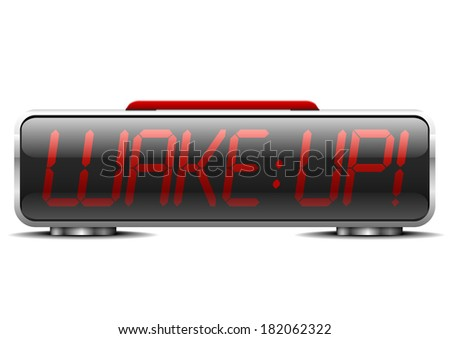 "detailed illustration of a digital alarm clock with term ""wake up"" instead of digits, eps10 vector - stock vector"