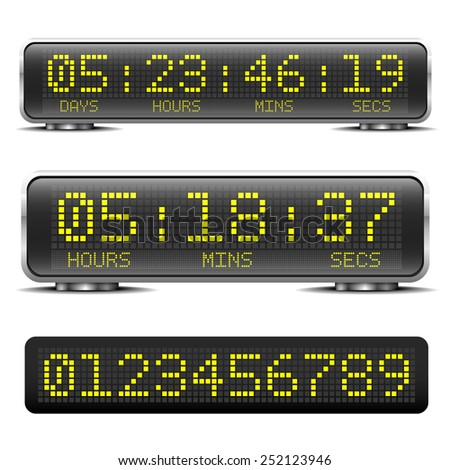 detailed illustration of a digital LED countdown timer with LED-Digits - stock vector