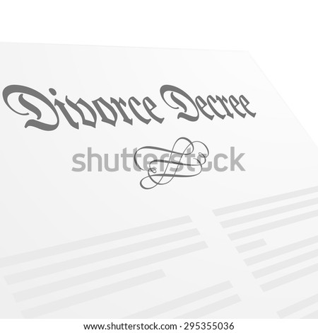 detailed illustration of a Divorce Decree letter, eps10 vector - stock vector