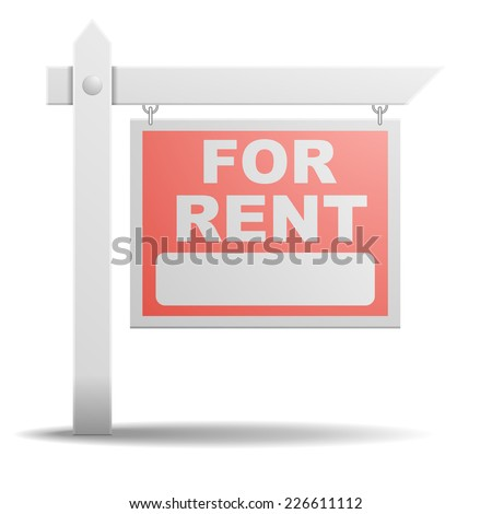 detailed illustration of a For Rent real estate sign, eps10 vector - stock vector