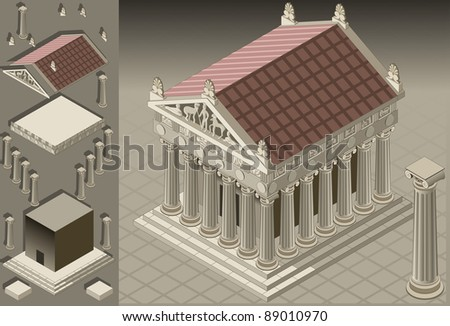 Detailed illustration of a Greek temple in the Ionian style. Fully layered/grouped - stock vector