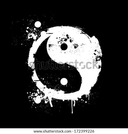 detailed illustration of a grungy yin yang symbol, eps10 vector - stock vector