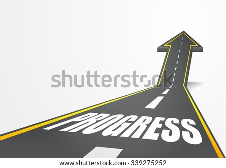 detailed illustration of a highway road going up as an arrow with Progress text, eps10 vector - stock vector