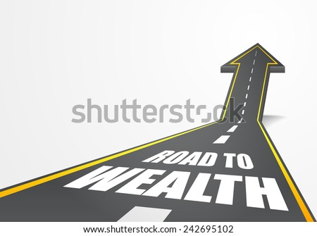 detailed illustration of a highway road going up as an arrow with road to wealth text, eps10 vector - stock vector