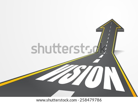 detailed illustration of a highway road going up as an arrow with vision text, eps10 vector - stock vector