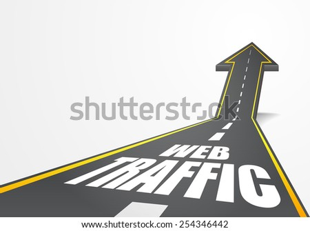 detailed illustration of a highway road going up as an arrow with web traffic text, eps10 vector - stock vector
