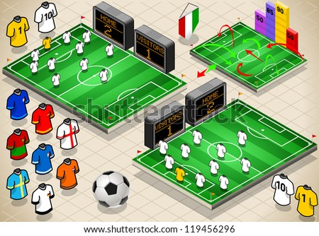Detailed illustration of a info graphic set of Soccer fields and uniforms in different positions - stock vector