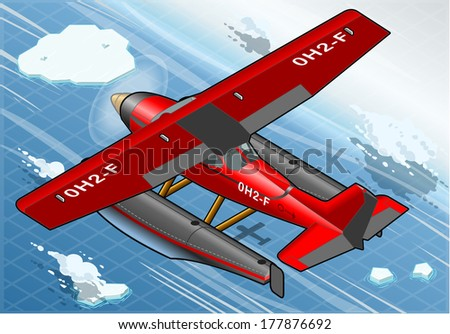 Detailed Illustration of a Isometric Arctic Hydroplane in Flight in Rear View - stock vector