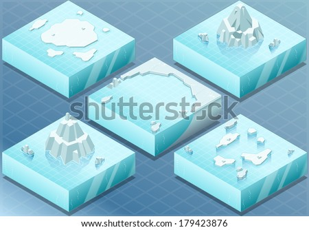 Detailed Illustration of a Isometric Arctic Terrain with Iceberg and Mounts - stock vector