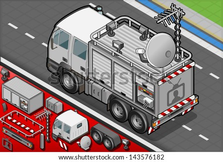 Detailed illustration of a Isometric Broadcast TV Truck in rear view - stock vector