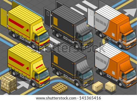 Detailed illustration of a Isometric Delivery Truck in Three Livery in front view - stock vector
