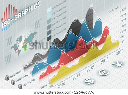 Detailed illustration of a isometric info graphic histogram set elements in various colors - stock vector