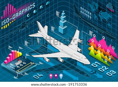 Detailed illustration of a Isometric Infographic Set Elements with Airplane - stock vector