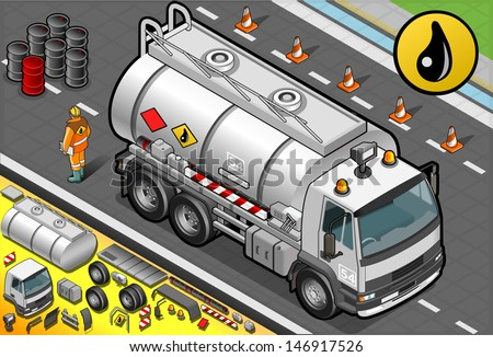 Detailed illustration of a Isometric Liquid Tanker Truck in Front View - stock vector