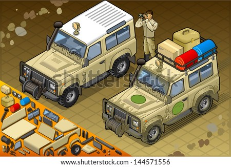 Detailed illustration of a Isometric Safari vehicle with guide in front view - stock vector