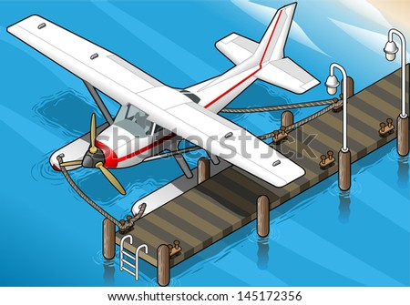 detailed illustration of a Isometric Seaplane Moored at the Pier in Front View - stock vector