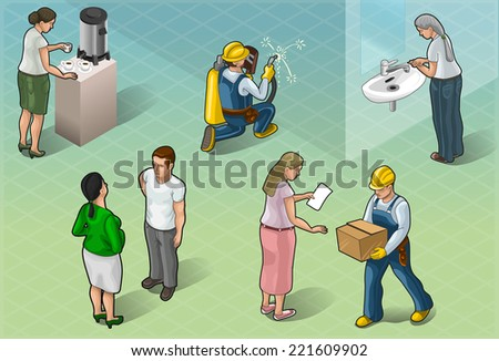 Detailed illustration of a Isometric Services People in Some Positions - stock vector