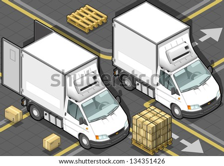 detailed illustration of a isometric white refrigerator van in front view - stock vector