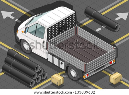 detailed illustration of a isometric white van in rear view - stock vector